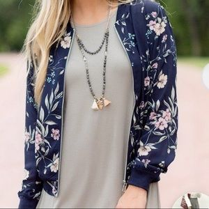 Floral light-weight bomber jacket